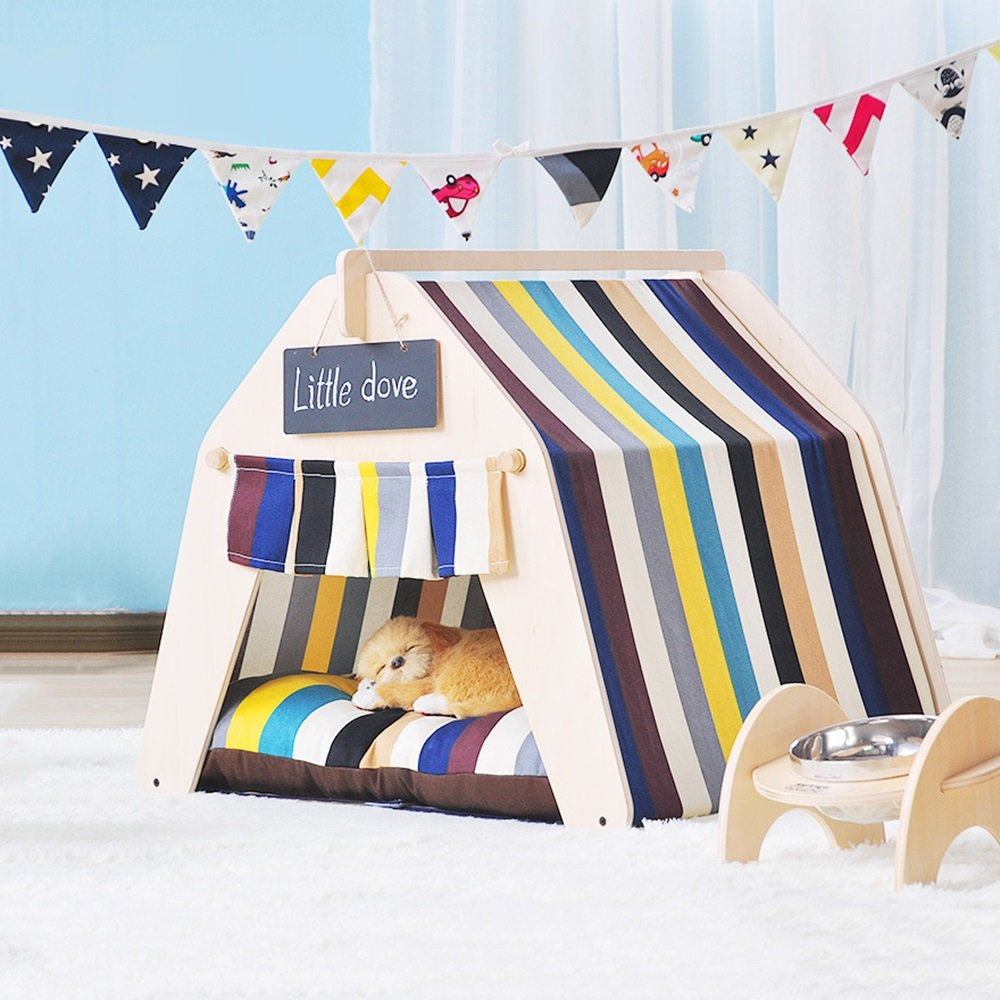 2 SmallWXWX Pet Supplies Pet Tent Cute Beautiful Pet Bed Small Dog Pet House Removable And Washable Pet Supplies Autumn And Winter Thick Mat 6 Styles Multifunction (color   01, Size   L)
