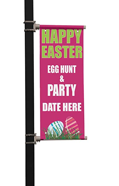 Amazon.com : Happy Easter Egg Hunt & Party Custom Date Double Sided Vertical Pole Banner Sign 24 in x 36 in w/ Pole Bracket : Office Products