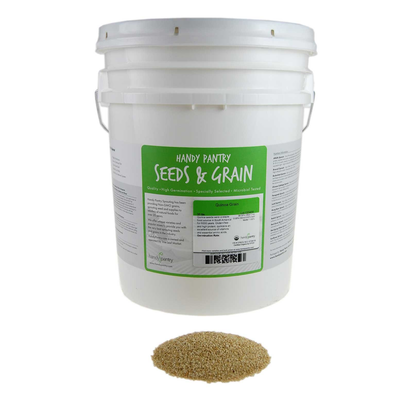 Certified Organic Quinoa Grain Sprouting Seeds - 35 Lbs - Grind for Quinoa Flour, Cereal, Emergency Food Storage More