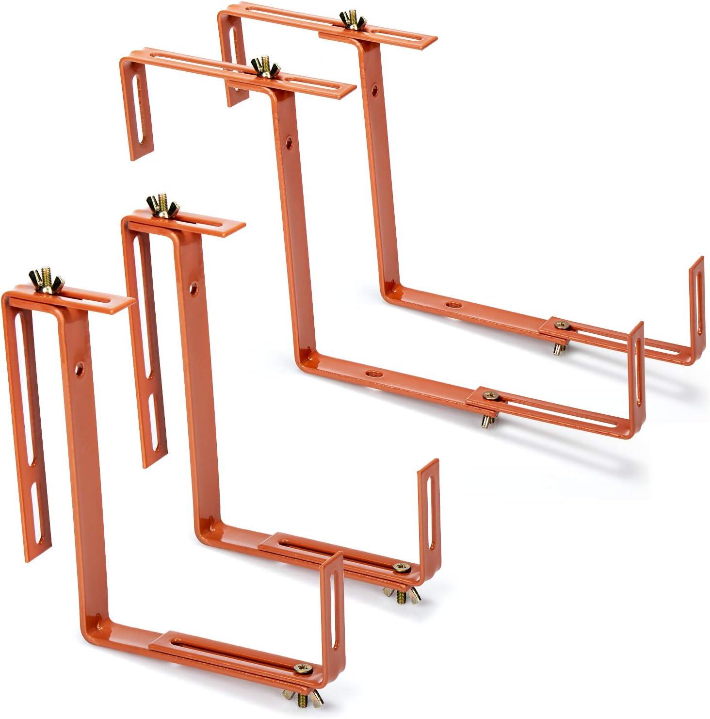 com-four® 4X Soporte de Maceteros para Parapetos y Barandas de Balcón - Soporte de Jardineras Universalmente Adecuado y Ajustable - Sin Perforar (4 Piezas - marrón Claro)