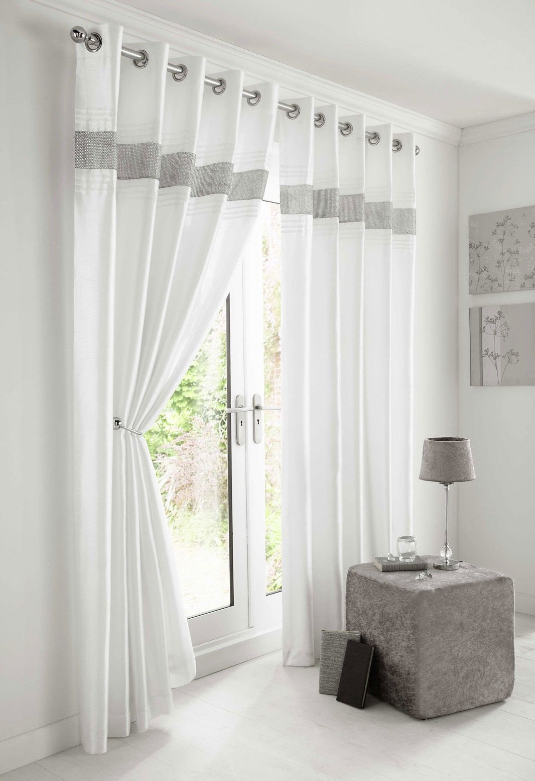 Kimberley White Faux Silk Fully Lined Ready Made 66 X 72 Inch Drop Pair Curtainswith Strips