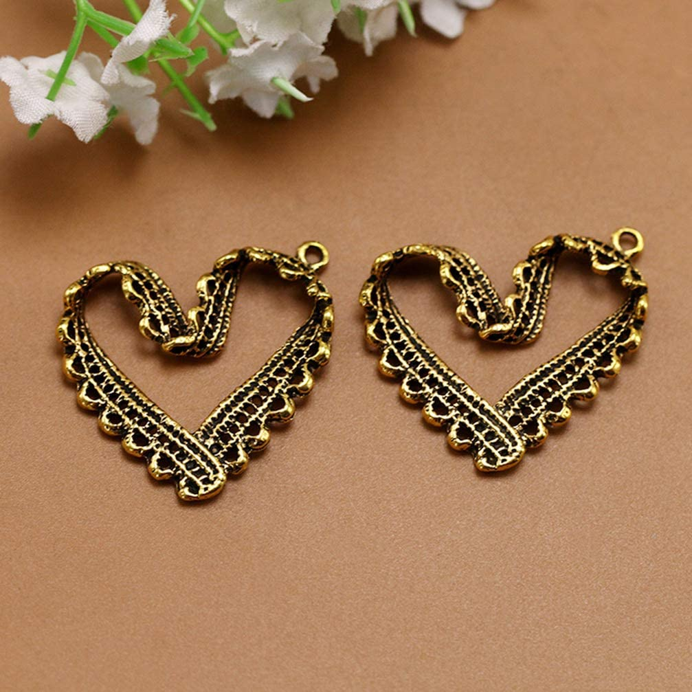 Heart FENICAL Alloy Pendants Charms Decorative Antique Golden Lace Heart Charms Jewelry Accessory for DIY Crafts Earrings Necklace 10pcs