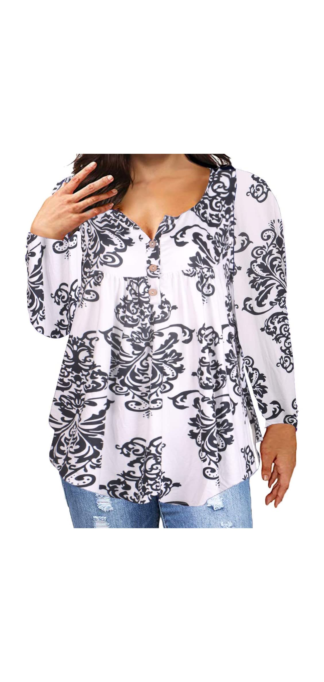 Women's Plus Size Long Sleeve Henley Tunic V Neck Casual Printed