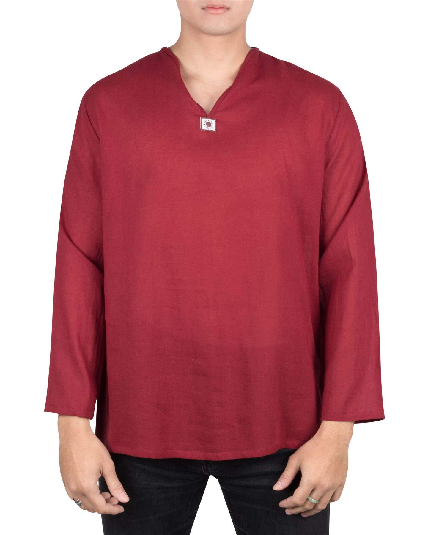 Lofbaz Men's V-Neck T-Shirt 100% Cotton Thai Hippie Shirt Yoga Top Burgundy 2XL