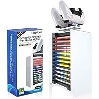 Likorlove Torre de Almacenamiento de Juegos y Cargador de Mando 2 en 1 para Playstation 5 Soporte de CD DVD Estantería…