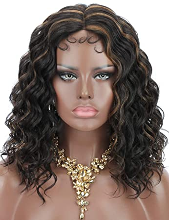 Kalyss 2 Tones Black Brown Highlights Curly Wavy Lace Wigs With Baby Hair For Black Women Medium