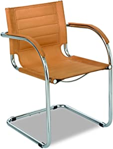 Safco Products Flaunt Leather Guest Chair , Camel, Sturdy Steel Frame, Stitched Leather Back and Seat, Chrome Accents