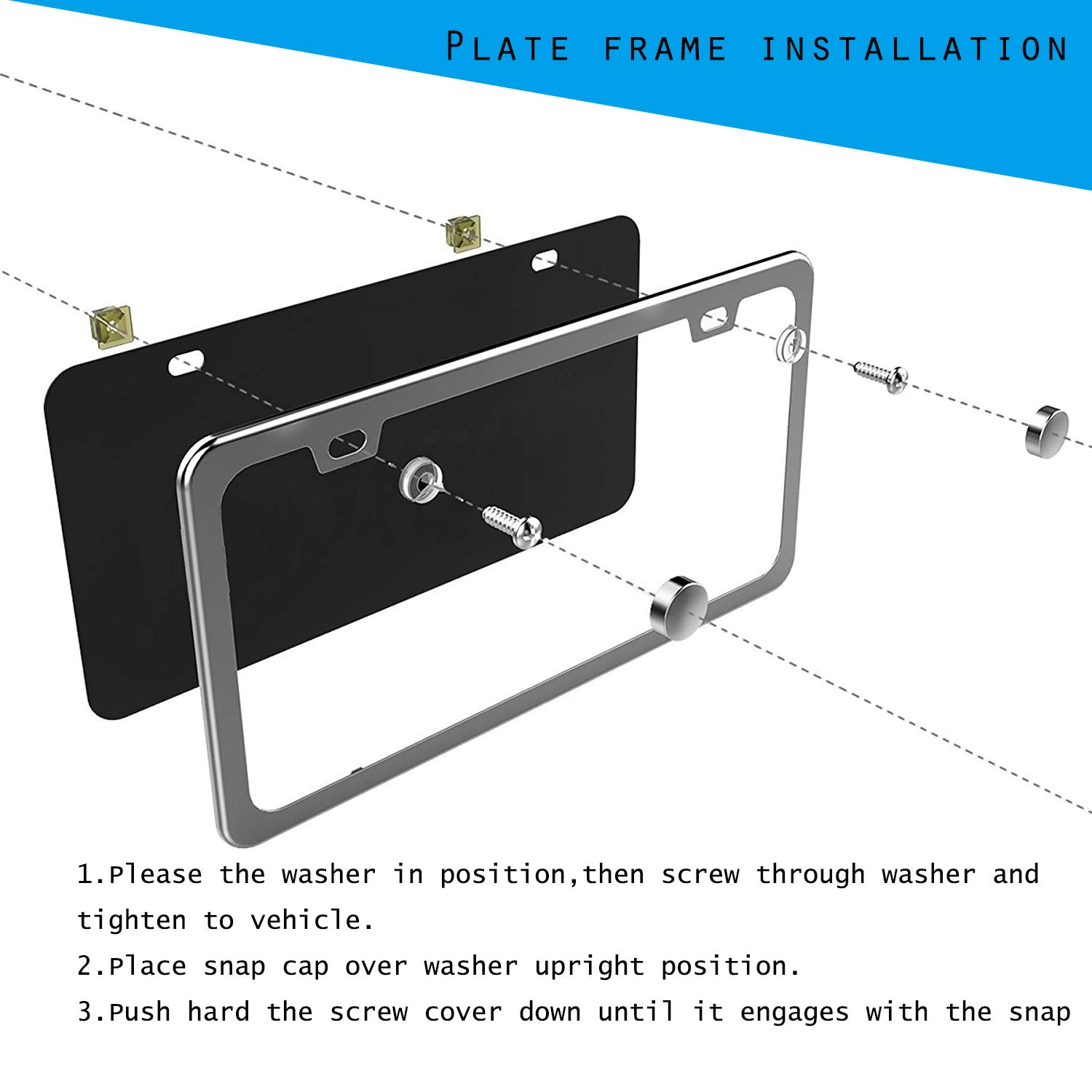 Mushan Pack of 2 License Plate Frame Stainless Steel Plate Cover US Standard Bumper Guard with Full Set of with Screw Cap Kit