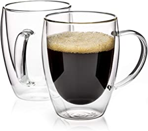 MEWAY 12oz Double Wall Insulated Glasses Coffee Mugs,Tea Cups,Latte Cups,Beverage Glasses(12OZ,2PACK)