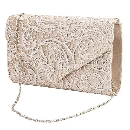 41c5492eaae Newsoul Women's Satin Lace Clutch Purses Elegant Floral Lace Envelope Clutch  Evening Prom Party Bridal Handbag Purse (Champagne): Amazon.ca: Shoes & ...