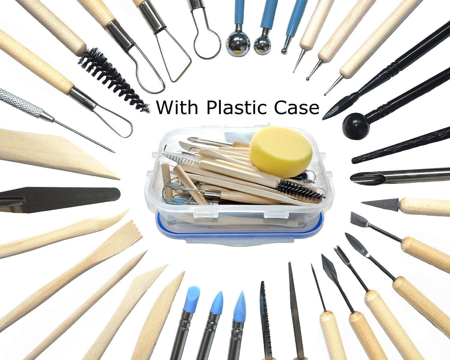 Polymer Clay Tools,Augernis 19PCS Modeling Clay Sculpting Tools with Plastic Case for Kids After School Pottery Sculpture/Classes,Cake Fondant Decoration,Clay,Ceramics Artwork /& Holiday Crafts