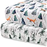 Pobi Baby - 2 Pack Premium Fitted Crib Sheets for Standard Crib Mattress - Ultra-Soft Cotton Blend, Stylish Animal Woodland P