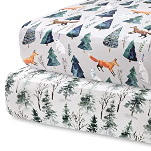 Pobi Baby - 2 Pack Premium Fitted Crib Sheets for Standard Crib Mattress - Ultra-Soft Cotton Blend, Stylish Animal Woodland Pattern, Safe and Snug for Baby (Magical)