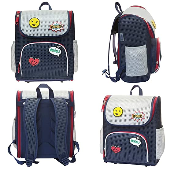 c29877a14de5 Peterpoint Kids' Backpack Children's School Bags for Elementary Lightweight  Satchel Navy Blue for Boys Girls with Add-on Patch