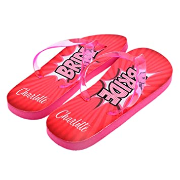 3a061882f5b152 Personalised Superhero Bride Flip Flops with First Name UK Size 6-8 (PLEASE  READ