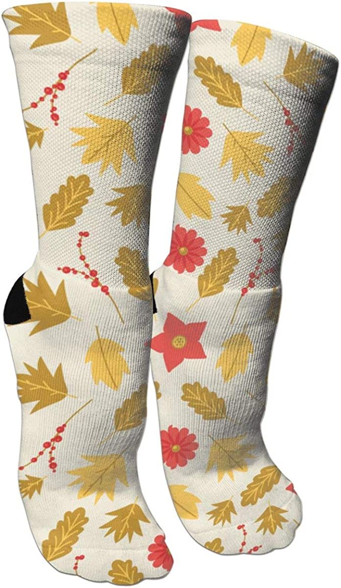 Maple Leaves FlowerCrazy Socks Casual Cotton Crew Socks Cute Funny Sock Great For Sports And Hiking