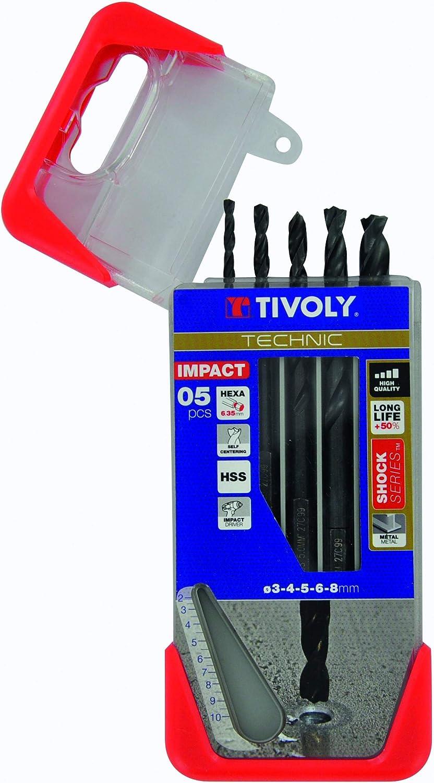 Tivoly 11434370002 Coffret de Forets Metal HSS Shock Series Queue Hexa