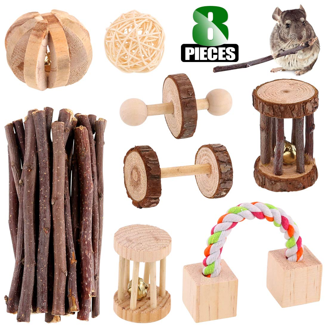 Keadic Small Pets Hamster Chew Toys Set Natural Pine, Dumbells, Exercise Bell Roller, Fun Pet Balls, Molar Apple Sticks Wooden for Chinchilla Hamster Guinea Pig Birds Bunny Rabbits Gerbils (Pack of 8) by Keadic