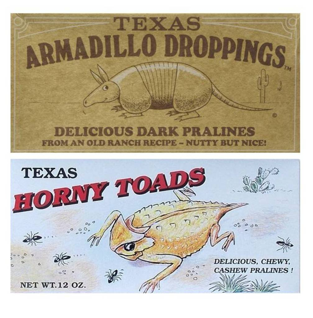 Texas Armadillo Droppings Delicious Dark Pecan Pralines and Texas Horny Toads Chewy Cashew Pralines Gift Box Set - 12 Oz. Ea.