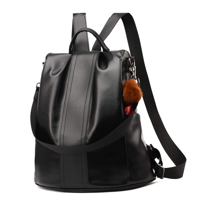 Women Backpack Purse PU Leather Anti-theft Backpack Casual Satchel School Shoulder Bag for Girls (Black Large)