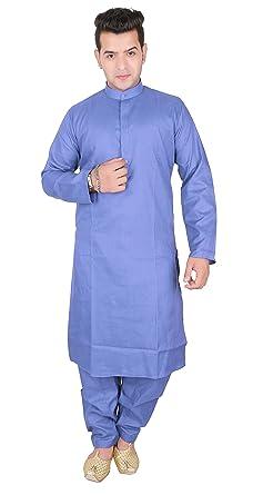 fc8919faf1 Men Indian Sherwani Plain Cotton kurta with Salwar kameez for Bollywood  party costume -1802 (