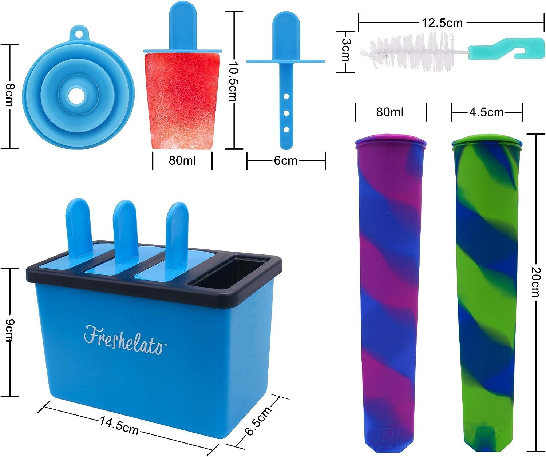 2 x Moule en Silicone Bleu Entonnoir Recette Brosse Freshelato E-Book Moule de Glace /à Eau//Ensemble de Machine /à sucettes glac/ées