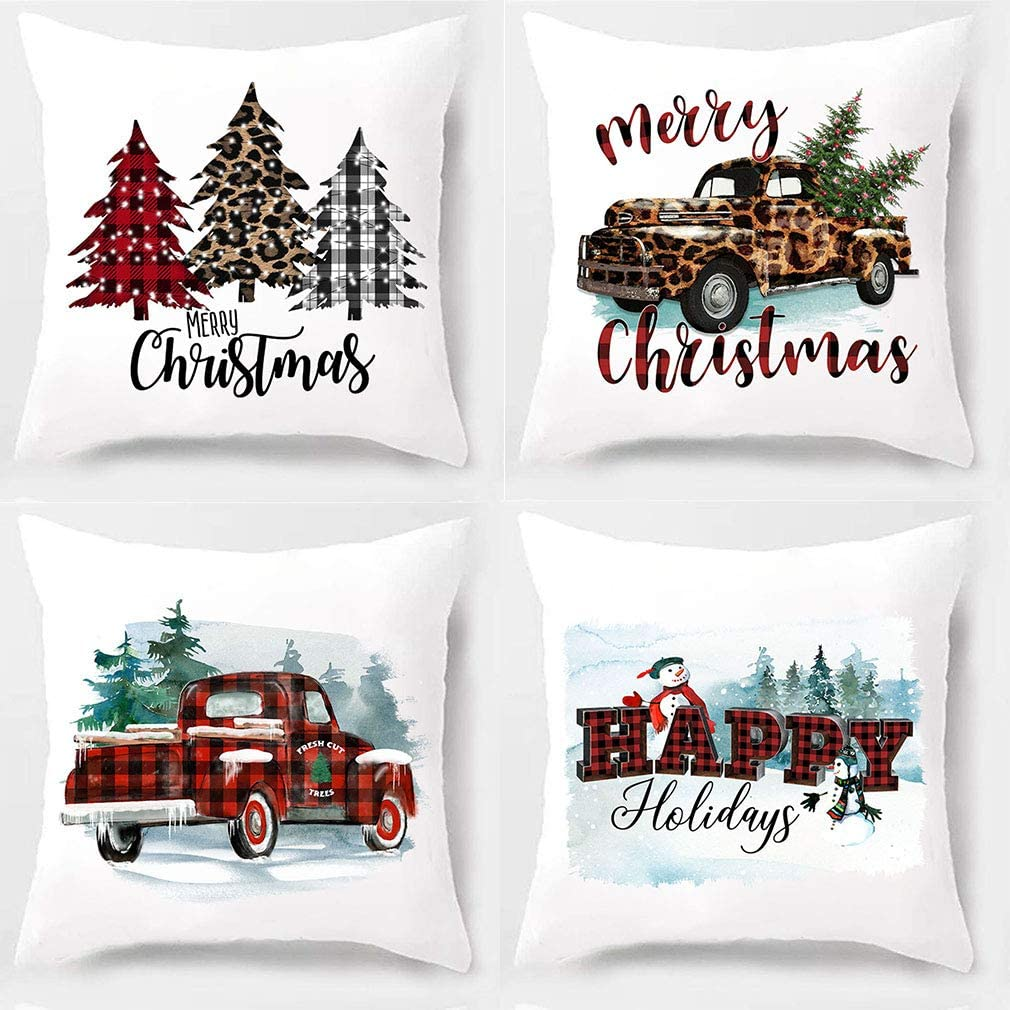 PSDWETS Christmas Decor Buffalo Check Plaid Truck Watercolour Christmas Tree Throw Pillow Covers Set of 4 Home Decorative Cotton Polyester Cushion Case for Farmhouse Decor,18 x 18 Inches