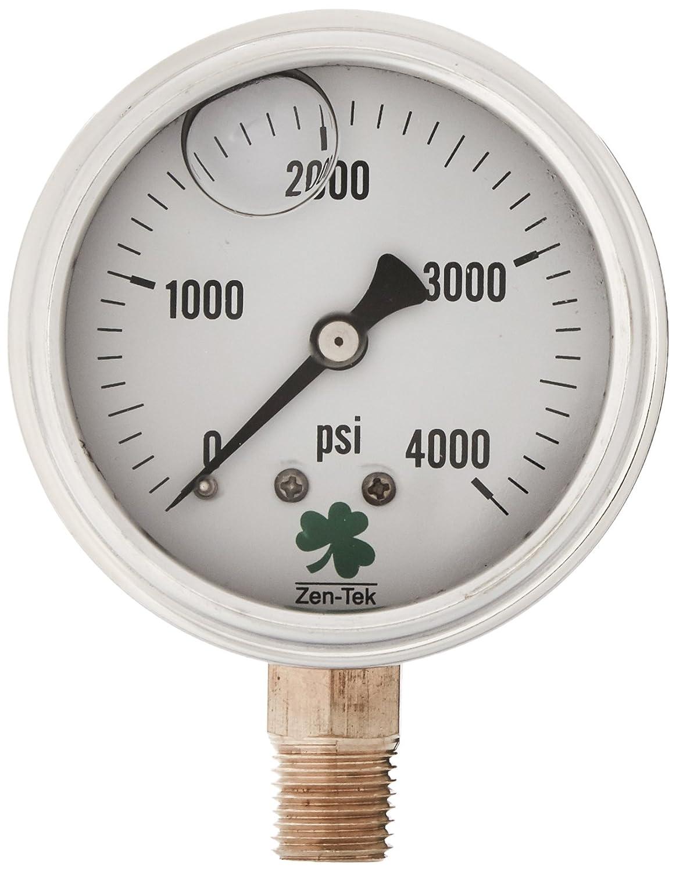 Zenport LPG4000 Zen Tek Glycerin Liquid Filled Pressure Gauge 4000 PSI