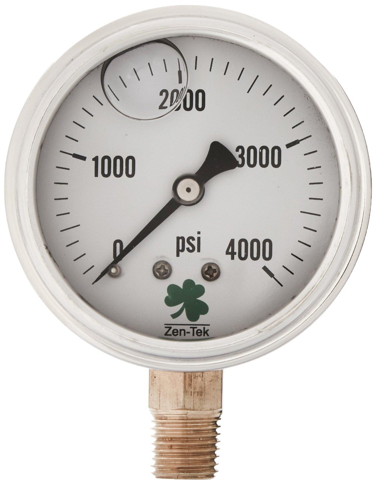 Zenport LPG4000 Zen-Tek Glycerin Liquid Filled Pressure Gauge, 4000 PSI