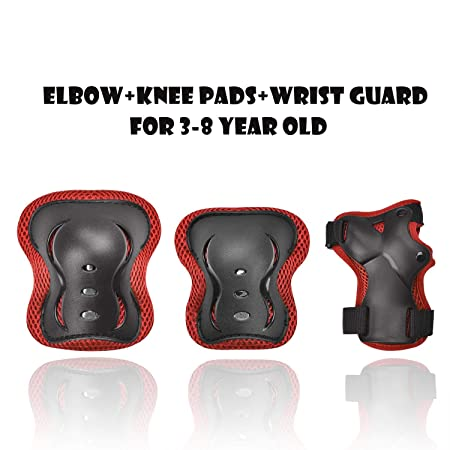 Kids Adjustable Comfortable Knee Pads and Elbow Pads with Wrist Guards Youth Protective Gear Set for Biking, Riding, Cycling and Multi Sports Safety Protection: Scooter, Skateboard, Inline