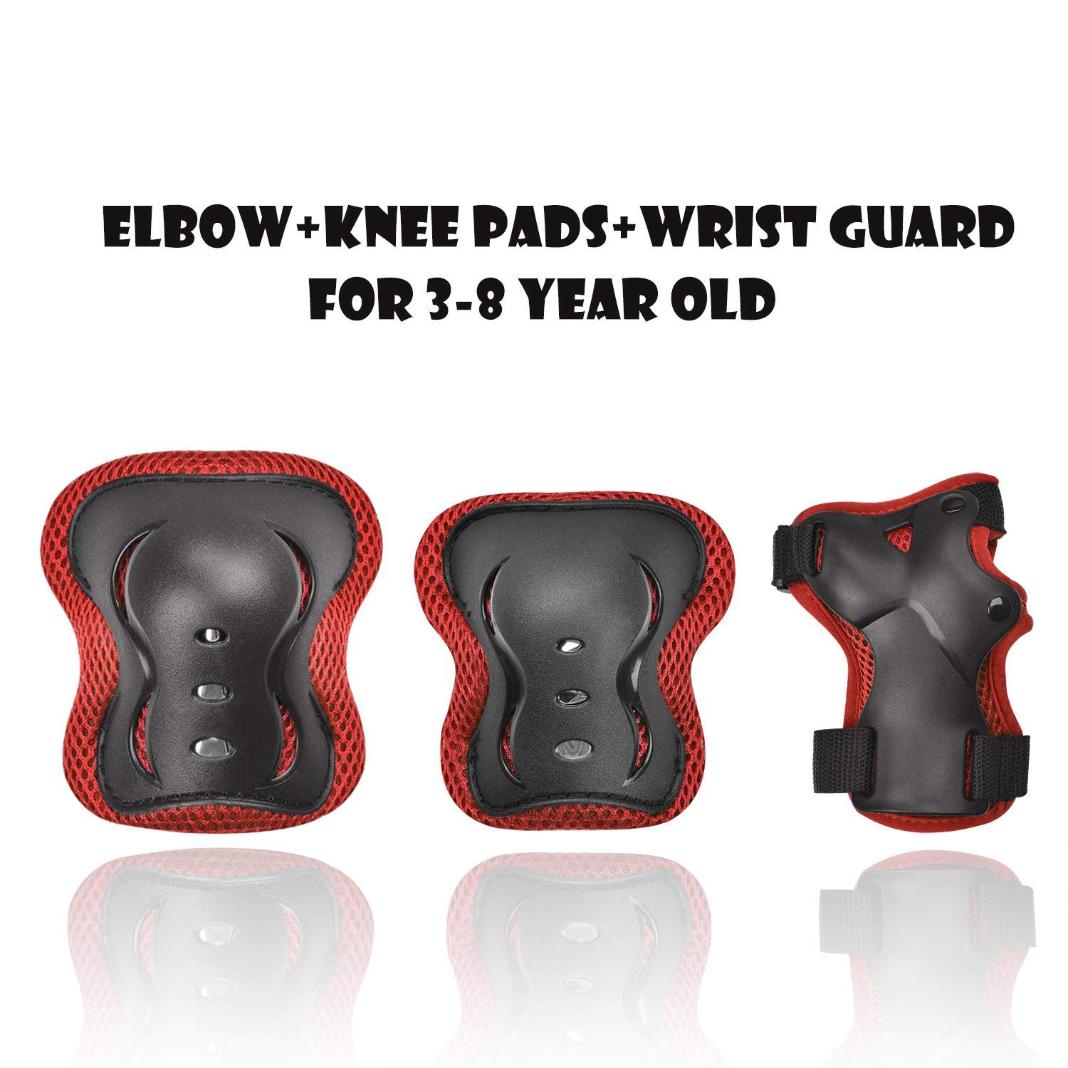 Kids Adjustable Comfortable Knee Pads and Elbow Pads with Wrist Guards Youth Protective Gear Set for Biking, Riding, Cycling and Multi Sports Safety Protection: Scooter, Skateboard, inline skatings