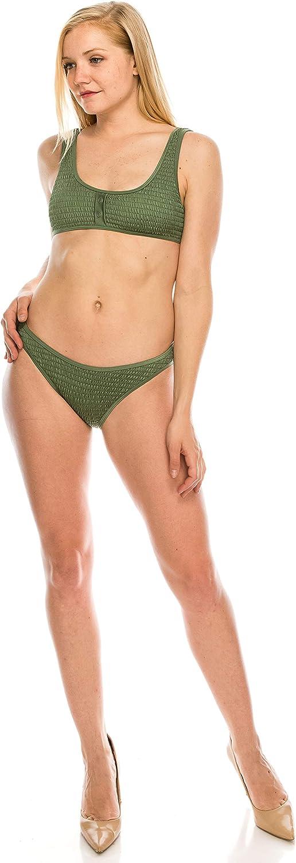 KYLIE Womens Shirring Henley Bikini Top KENDALL