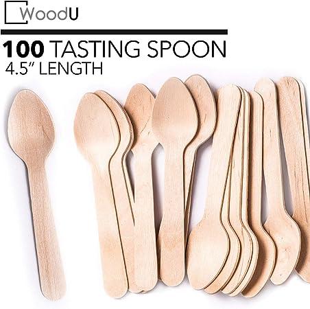 WoodU Mini cucharas de madera de 4.5