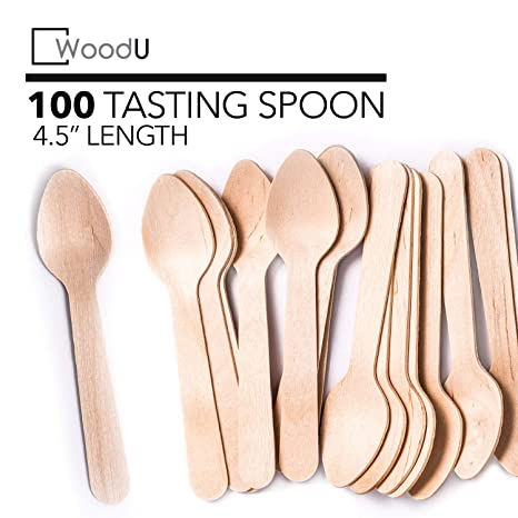 Woodu Mini Wooden Spoons 45 Length Disposable Eco Friendly Biodegradable Compostable Pack Of 100 Perfect For Crafts Sugar Scrubs Tasting And