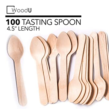Perfect Alternative For Plastic 11cm lenght 100pack by ecotableware Disposable Wooden Tea Spoons 100