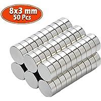 Yizhet neodymium magneten 10 x 2 mm 50 stuks mini magneten extreem sterk ca. 2 kilo hechtkracht 8 x 3 mm zilver