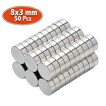 Yizhet 50 piezas Imanes de nevera de cilindro de neodimio N38 8mm ...