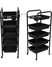 MultiWare 5 Drawer Salon Trolley Hairdresser Multifunctional Trolley Hair Salon Storage Tray Beauty Spa Rolling Storage Cart Black