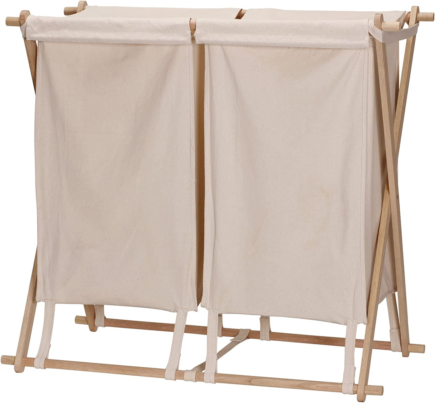 Household Essentials 6786-1 Collapsible Double X-Frame Laundry Hamper Sorter with Fold Over Lid