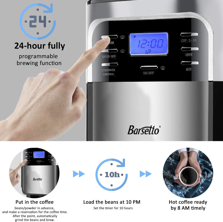 Amazon.com: Cafetera automática Barsetto Grind and Brew ...