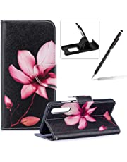 Leather Case for Huawei P30,Flip Wallet Cover for Huawei P30,Herzzer Stylish Colorful Pattern Magnetic Closure Purse Folio Smart Stand Cover with Card Cash Slot Soft TPU Inner Case for Huawei P30