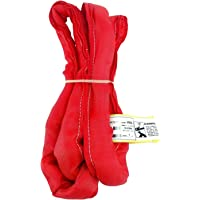 USA Made VR5 X 4' Red Slings 4'-30' Lengths in Listing, Double PLY Cover Endless Round Poly Lifting Slings, 13,200 lbs Vert, 10,560 lbs Choker, 26,400 lbs Basket (USA Polyester) (4 FT)