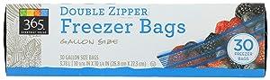365 Everyday Value, Double Zipper Freezer Bags, Gallon Size, 30 ct