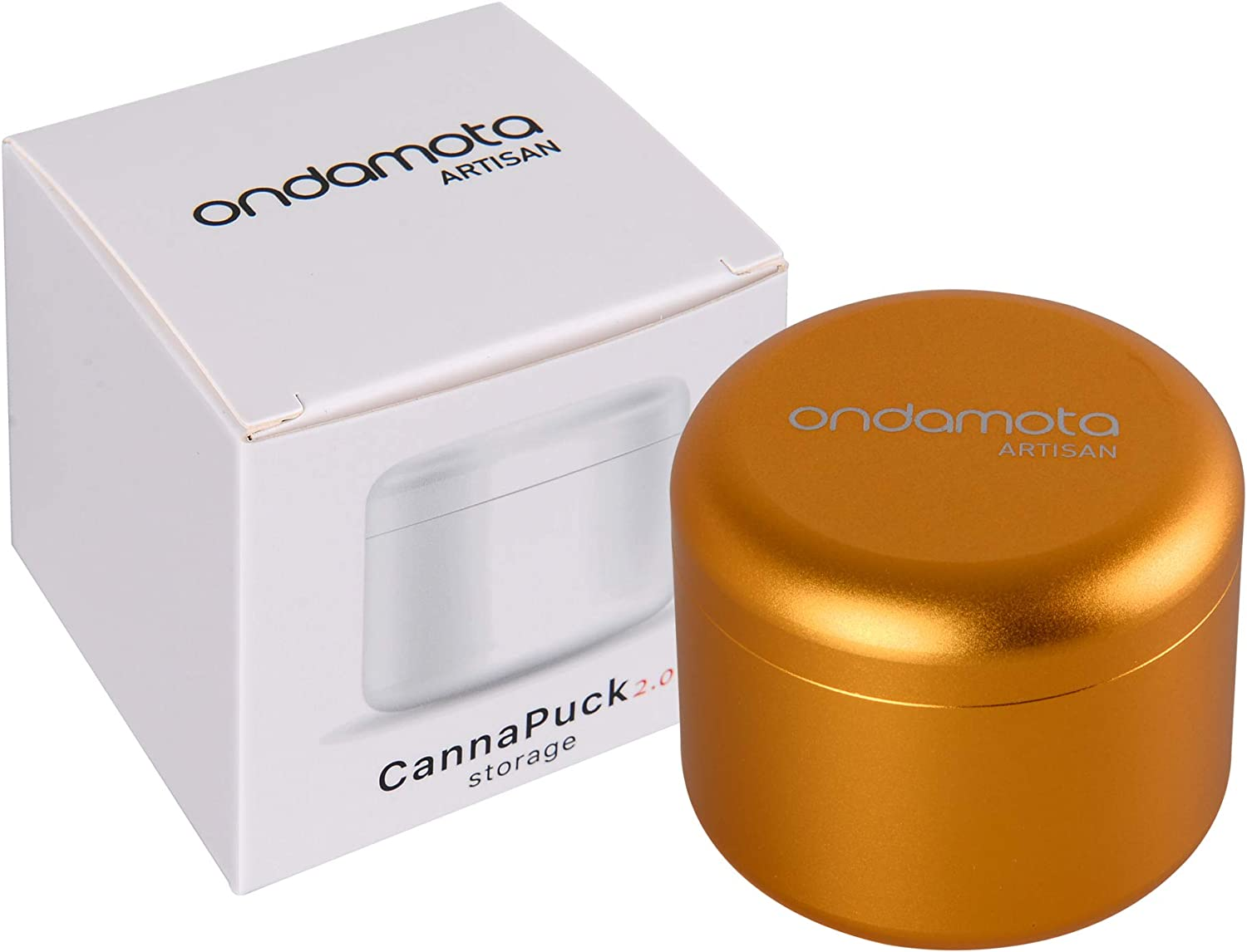 """Stash Jar Herb Storage Container in Sturdy, Air Tight Aluminum from ONDAMOTA. 2.1"""" Wide, 1.8"""" High Holds 12g Keeps Fresh, Locks in Aroma. Conveniently (Acapulco Gold)"""