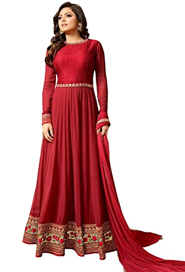 b6d8cabfd Softieons Ecommerce Drashti Dhami Women Special Party Wear Black-Red Color  Georgette Embroidery Work Semi