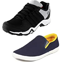 Tempo Men's Combo Pack of 2 Footwear (DANGAL BLK & SLV YLW)