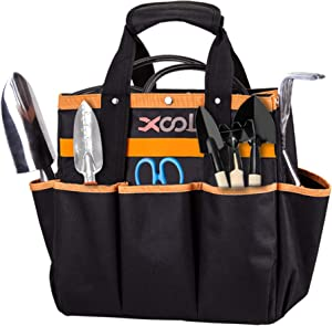 Garden Tool Bag, XOOL Garden Tote with 8 Oxford Pockets for Indoor and Outdoor Gardening,Non-slip Weaving Grip, Garden Gift(Garden Tool Bag Only/No Tools)