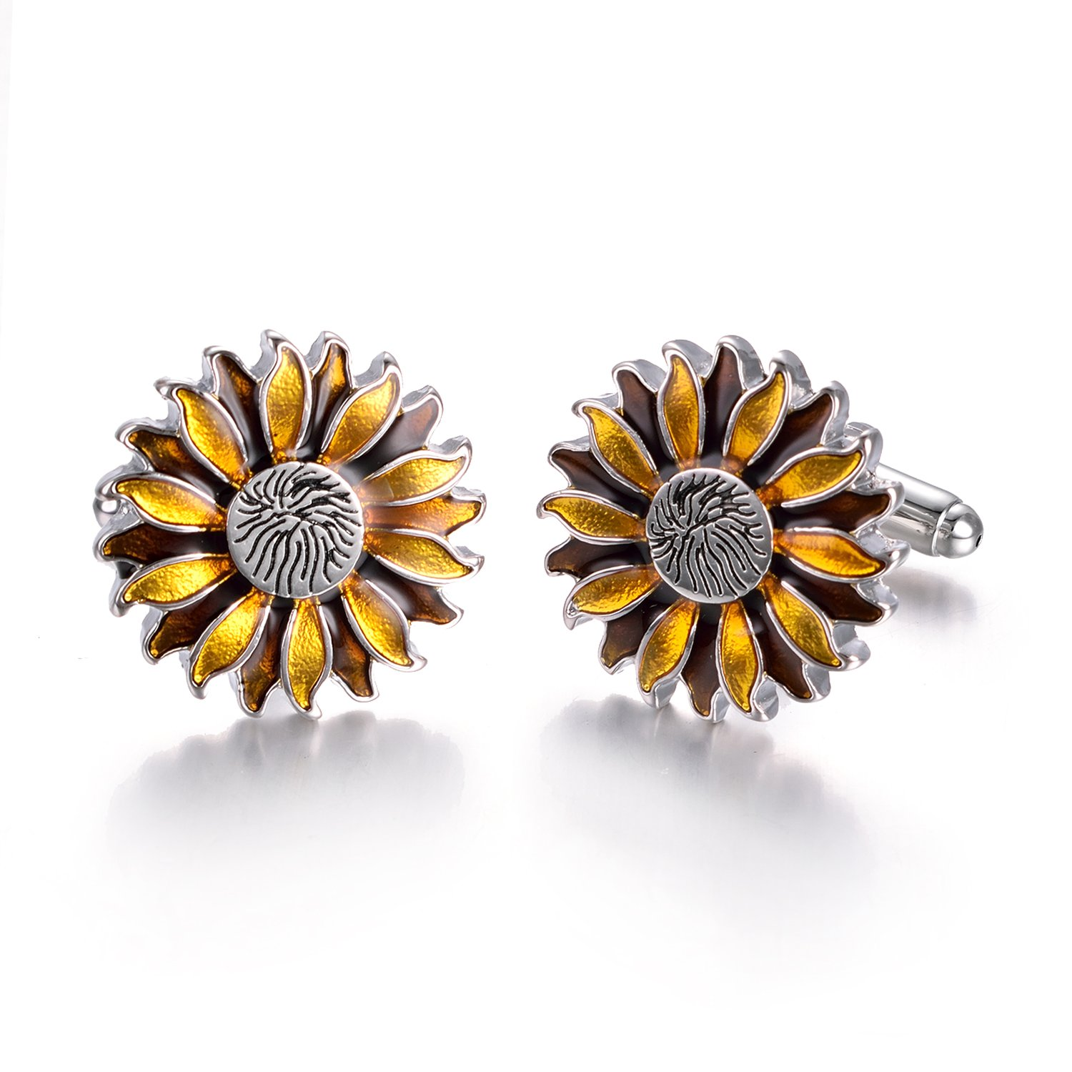 Yoursfs Sunflower Enamel Cufflinks Dark & Light Yellow Bullet Cufflinks Positive Fashion Cufflinks by Yoursfs (Image #1)