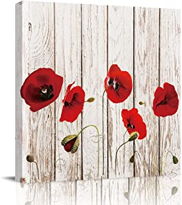 FOREVER20 Canvas Print Wall Art for Bathroom Kitchen Wall Decor Poppy Flower Wooden Texture Picture Painting Contemporary Artwork Stretched and Framed for Home Bedroom Livingingroom 12x12in