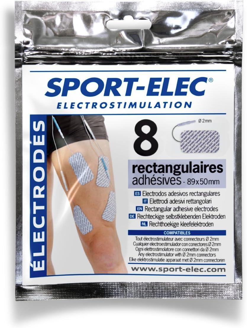 Sport-Elec Électrodes Rectangulaires 8 pièces Bleu//Blanc 89x50mm Gel Conducteur